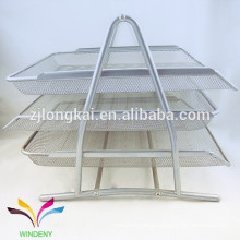 High quality customized 3 tiers decorative office desktop metal mesh magazine file organizer