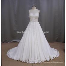 UJ605 jolie robe de mariée en coton sans manche en perles 2017