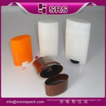 SRS free sample 15g 50g 75g empty oval stick deodorant bottle container for sale , PP gel white deodorant stick packaging
