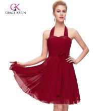 Grace Karin Halter diseño corto de gasa barato rojo oscuro vestido de dama de honor CL2290-3