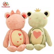 Personalizado verde y amarillo brazos y piernas largas Rana suave salto de rana Rey gigante rosa loco juguete de la rana felpa con juguete relleno de la corona