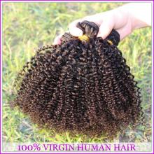 Extensões 100% naturais do cabelo do Virgin do cabelo encaracolado Kinky afro de alta qualidade de 2015