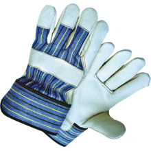 Cow Grain Leather Full Palm Stripe Cotton Back Work Glove