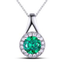 Moda Jóias Findings Gemstone Pingente de Prata Cor Verde