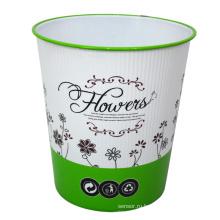 Пластмассовый цветок Отпечатанный открытый мусорный ящик для дома (B06-931H)