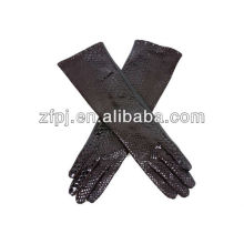 fashion long lines style elbow top sheep leather gloves with snake lines