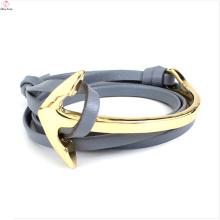 Bracelet en cuir en acier inoxydable Custom Box plastique chaîne ancre en cuir Bracelet fermoir