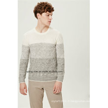 Contraste Color Pattern Knit Men Sweater