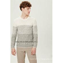 Contraste de cores padrão knit homens camisola