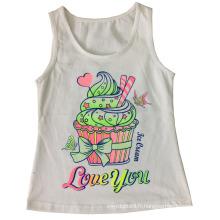 Gilet de fille de mode dans le T-shirt de fille d'enfants avec le gâteau d'impression (SV-020)