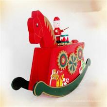boîte à musique de cheval en bois de vente chaude de cadeau de Noël de couleur rouge