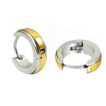 14K Gelbgold überzogene Hoop Huggies Ohrringe im Edelstahl HE-023