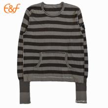 Totalmente Fashioned Editing Roll Edges Cotton Sweater Pullover para las mujeres