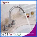 Fyeer Goose Neck 3-Loch-Badezimmer verbreitet Waschbecken Wasserhahn