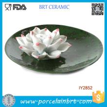 Lotus Flower Ceramic Green Circular Tray Articles Handicraft