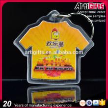 Porte-clés en gros acrylique de forme de T-shirt avec le logo fait sur commande