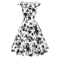 Belle Poque Stock Sleeveless Crew Neck Cotton Retro Vintage Pinup Dress BP000044-4