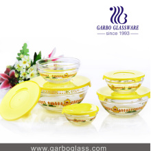 5PCS Glass Bowi Set with Yellow Duck Printing Design