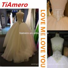 2015 dernière conception lourde perlée Arabie luxueuses robes de mariage / Off-épaule splendeur de bijoux sexy robes de mariée sans dossier
