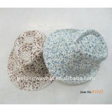 2012 Art und Weise weißer Fedora-Hut mit Blumen-Muster