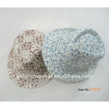 2012 Fashion White Fedora Hat With Flower Pattern