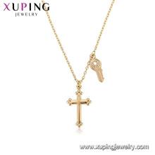 44081 Gros bijoux de mode religion collier 18k couleur or croix collier avec clé