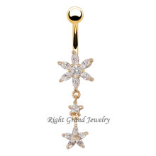 Sexy Gold Plated Flower 14G Dangle Belly Rings
