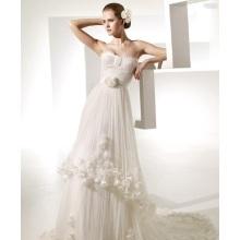 A-ligne Sweetheart chapelle Train fil artificiel fleurs ébouriffées robe de mariée