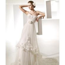 A-Line Милая Часовня Цветы Раффлед Свадебное Платье