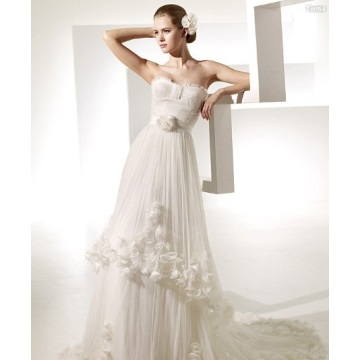 A-line Sweetheart Chapel Train Yarn Manmade Flowers Ruffled Wedding Dress