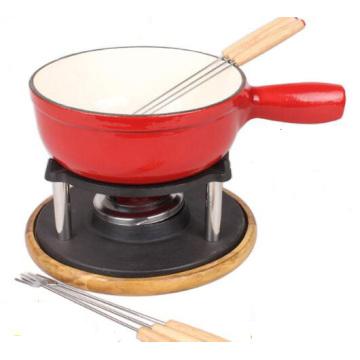 Enameled 8.25-inch Cast-iron Cheese Fondue Set