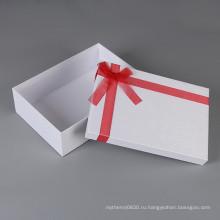 Изготовленный на заказ Логос причудливой ткани белого цвета картонная Упаковка коробки подарка с крышкой