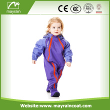 Kids Logo Print Reflective Tape Polyester Rainsuit