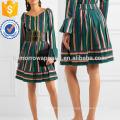 Saia de popeline bordada listrada manufatura atacado moda feminina vestuário (ta3036s)