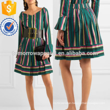 Striped Embroidered Poplin Skirt Manufacture Wholesale Fashion Women Apparel (TA3036S)