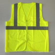 ANSI 107 de color amarillo naranja fluorescente de malla de seguridad chaleco chaqueta con cremallera con bolsillos de calidad cinta reflectante