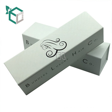 custom design white hair extension packaging box logo printing with matte lamination magnet