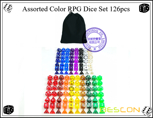 Assorted Color RPG Dice Set 126pcs-5