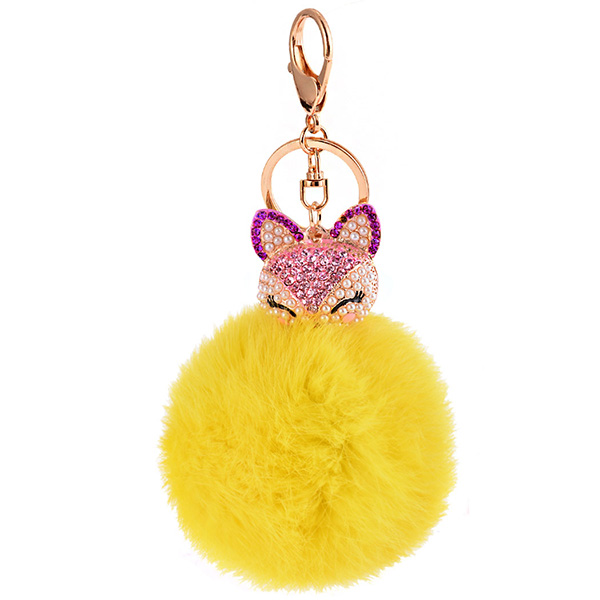Rhinestone Fox Charm Rabbit Fur Ball Keychain