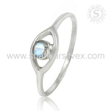 Design de haute qualité 925 Silver Rainbow Moonstone Ring Fabricant Gemstone Silver Jewelry
