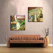 Wall Art Нью-Йорк Лондон Картина маслом на холсте Абстракция Городской пейзаж