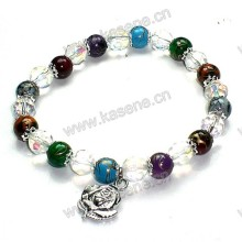 8mm Colourful Glass Elastic Bracelet Rose Medal