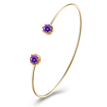 Purple Zircon Claw Gold Bangle Mulheres Pulseira De Ouro New Design Gold Bangle