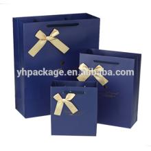 2018 gold logo stamping ribbon bow blue printedpaper packaging bag