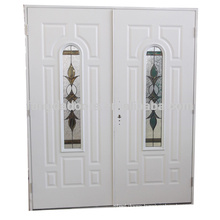 Fangda arch lite stainless steel double doors with glass,double glass door with arch decoration