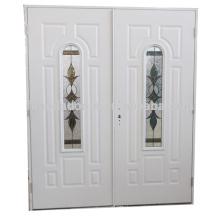 Fangda arco lite portas duplas de aço inoxidável com vidro, porta de vidro duplo com decoração em arco