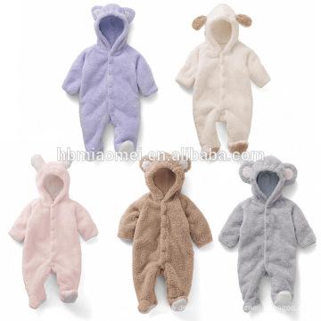 Vente chaude animal style manches longues et barboteuse bébé à capuche d'hiver pour bébé fille et bébé garçon