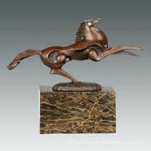 Escultura de bronce animal Pequeña estatua de cobre amarillo de la decoración del caballo que vuela Tpal-310