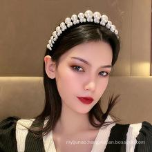 bande cheveux tali rambut Baroque Velvet Pearl Wide Headband Korean Designer Hairband for Woman Girl Luxury Hair Accessories