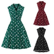 Women Summer New Lapel MID-Length Skirt Floral Sleeveless Dress